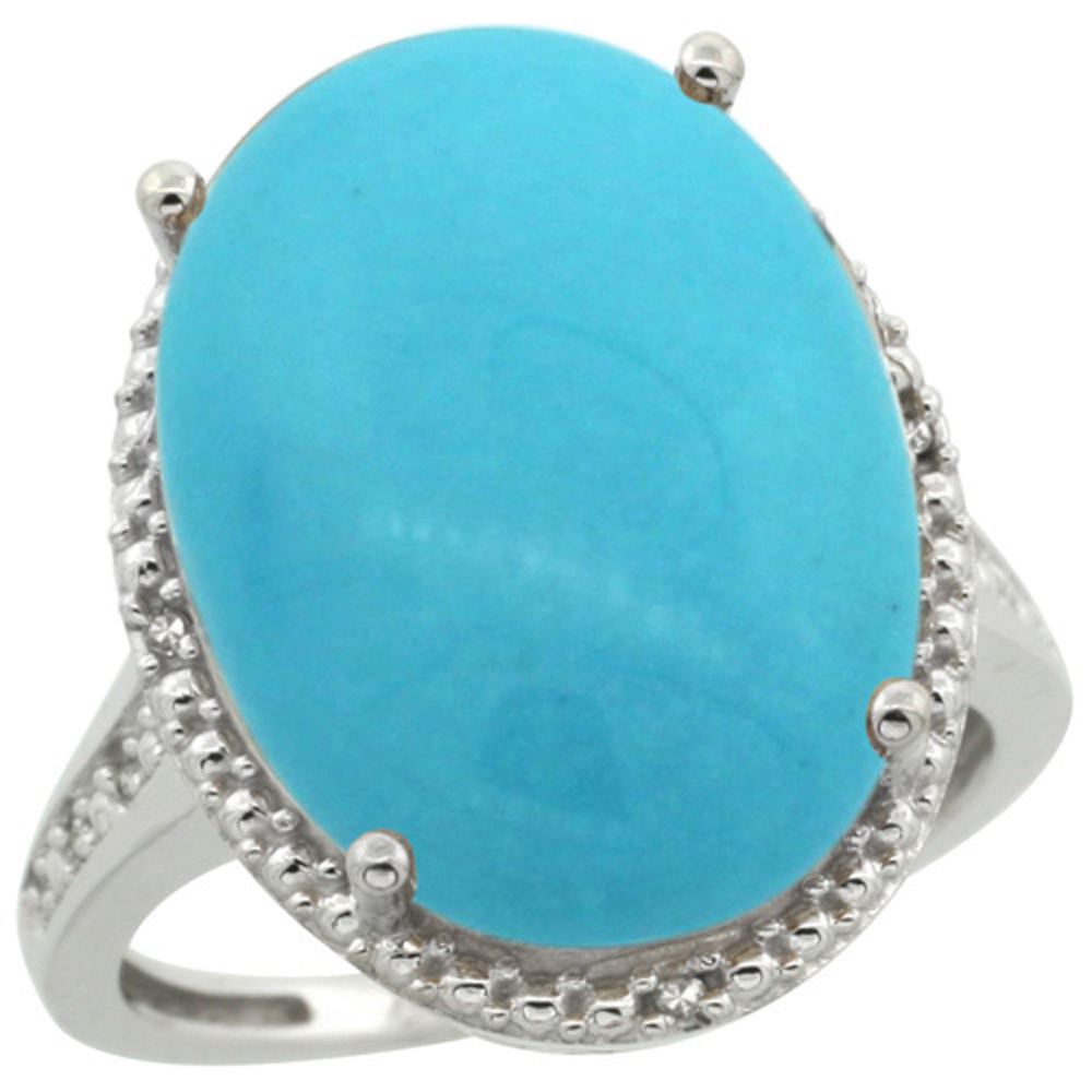 Sterling Silver Diamond Sleeping Beauty Turquoise Ring Oval 18x13mm, 3/4 inch wide, sizes 5-10