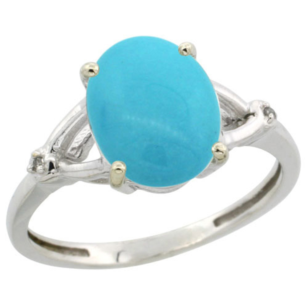 Sterling Silver Diamond Sleeping Beauty Turquoise Ring Oval 10x8mm, 3/8 inch wide, sizes 5-10