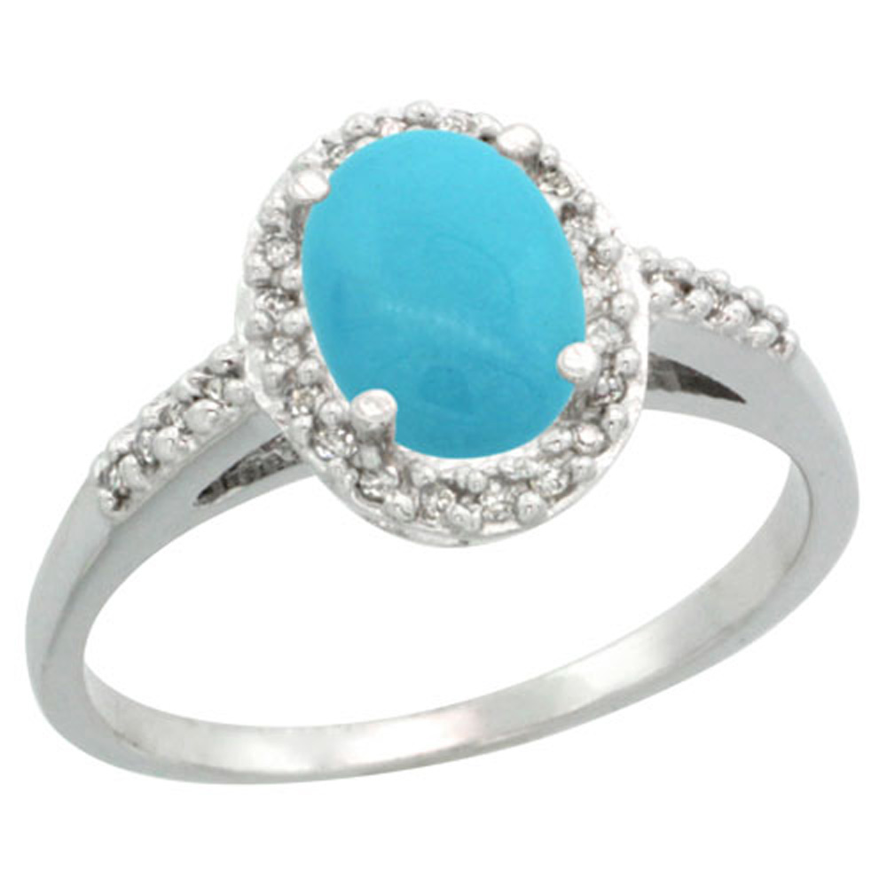 Sterling Silver Diamond Sleeping Beauty Turquoise Ring Oval 8x6mm, 3/8 inch wide, sizes 5-10