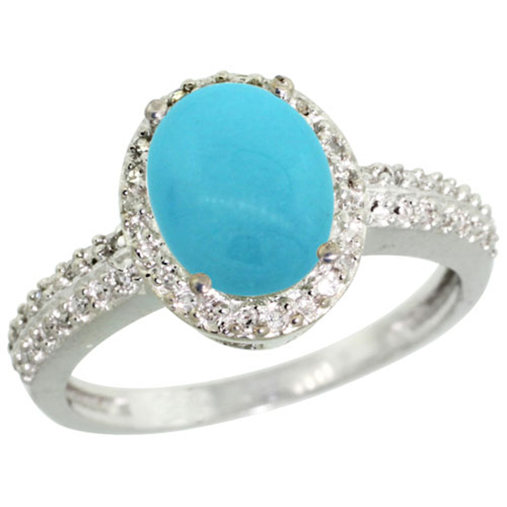 Sterling Silver Diamond Sleeping Beauty Turquoise Ring Oval 9x7mm, 1/2 inch wide, sizes 5-10