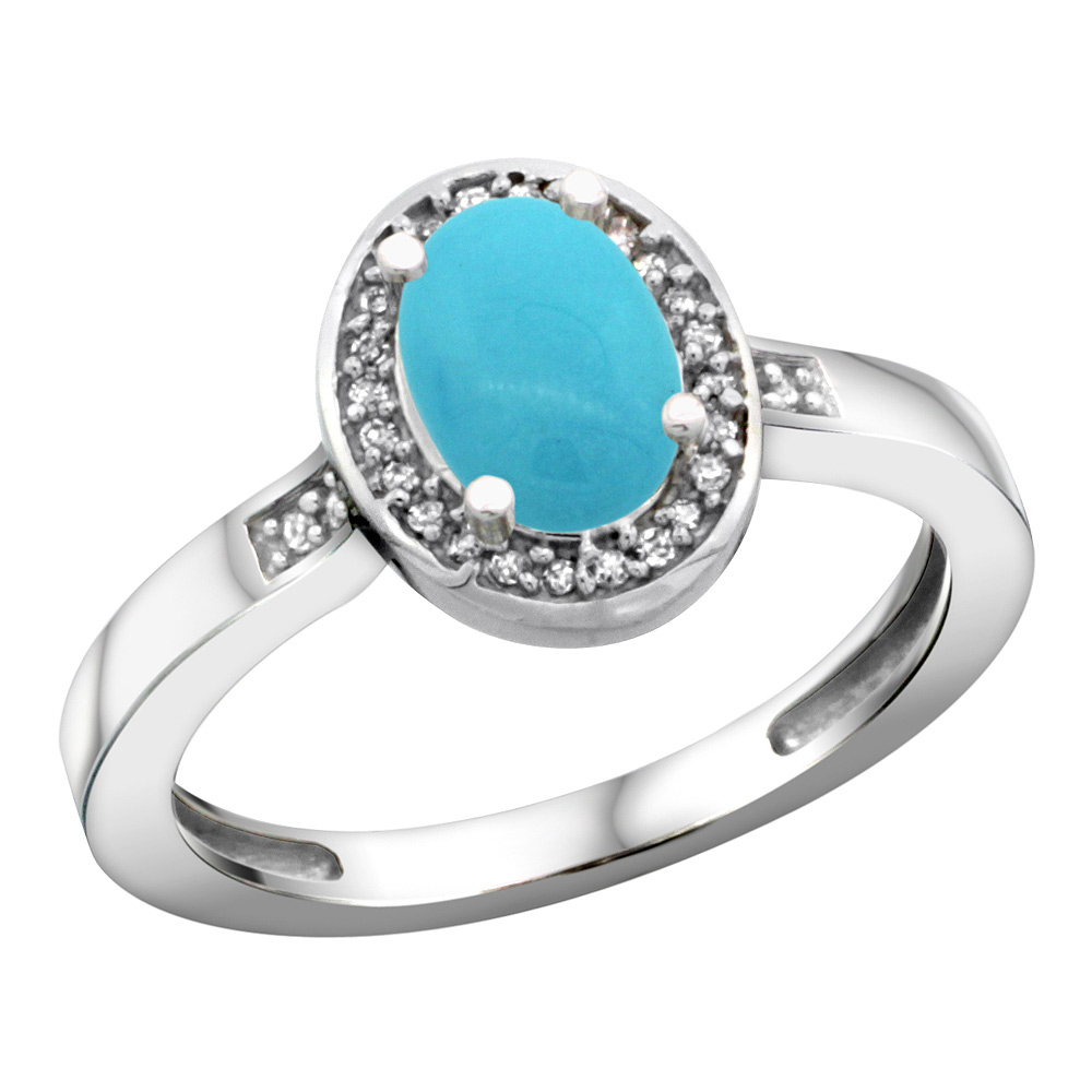 Sterling Silver Diamond Sleeping Beauty Turquoise Ring Oval 7x5mm, 1/2 inch wide, sizes 5-10