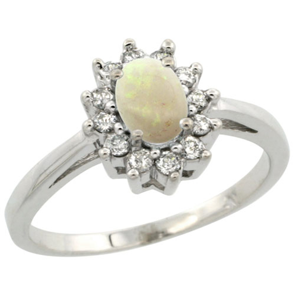 Sterling Silver Natural Opal Diamond Flower Halo Ring Oval 6X4mm, 3/8 inch wide, sizes 5-10