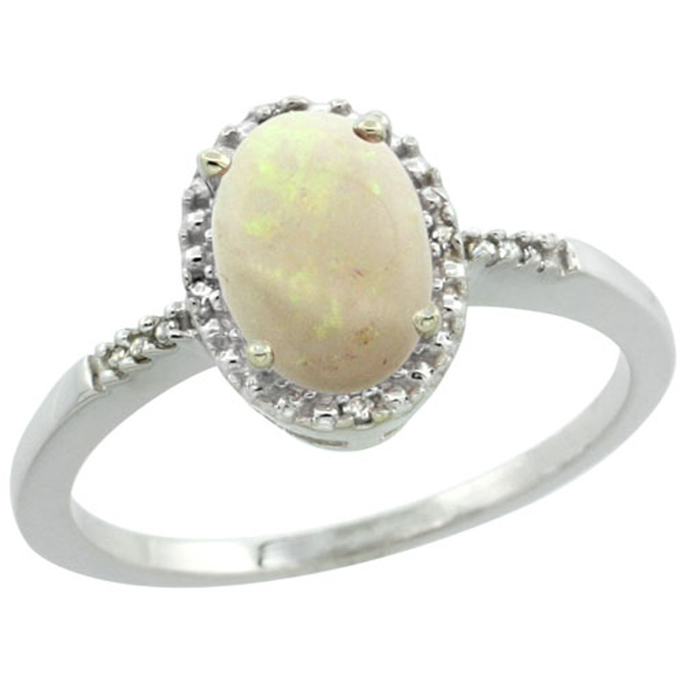 Sterling Silver Diamond Natural Opal Ring Oval 8x6mm, 3/8 inch wide, sizes 5-10