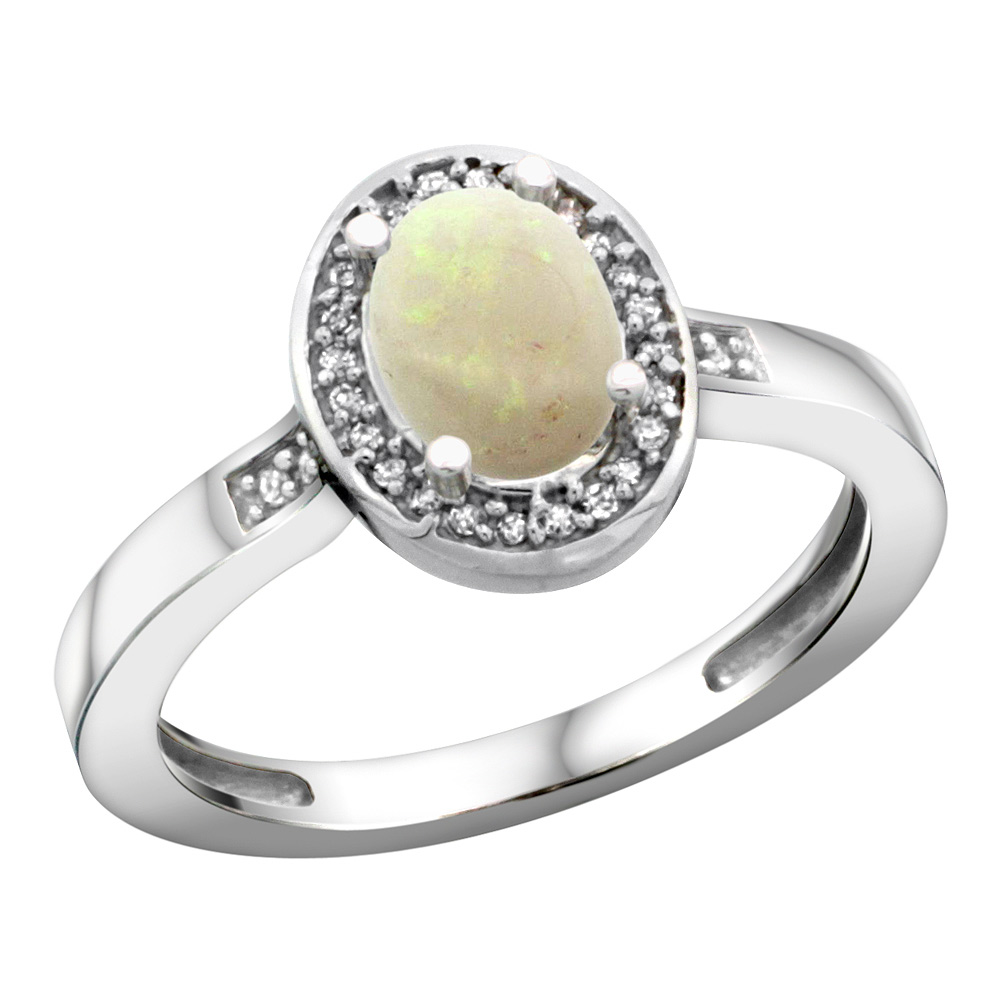 Sterling Silver Diamond Natural Opal Ring Oval 7x5mm, 1/2 inch wide, sizes 5-10