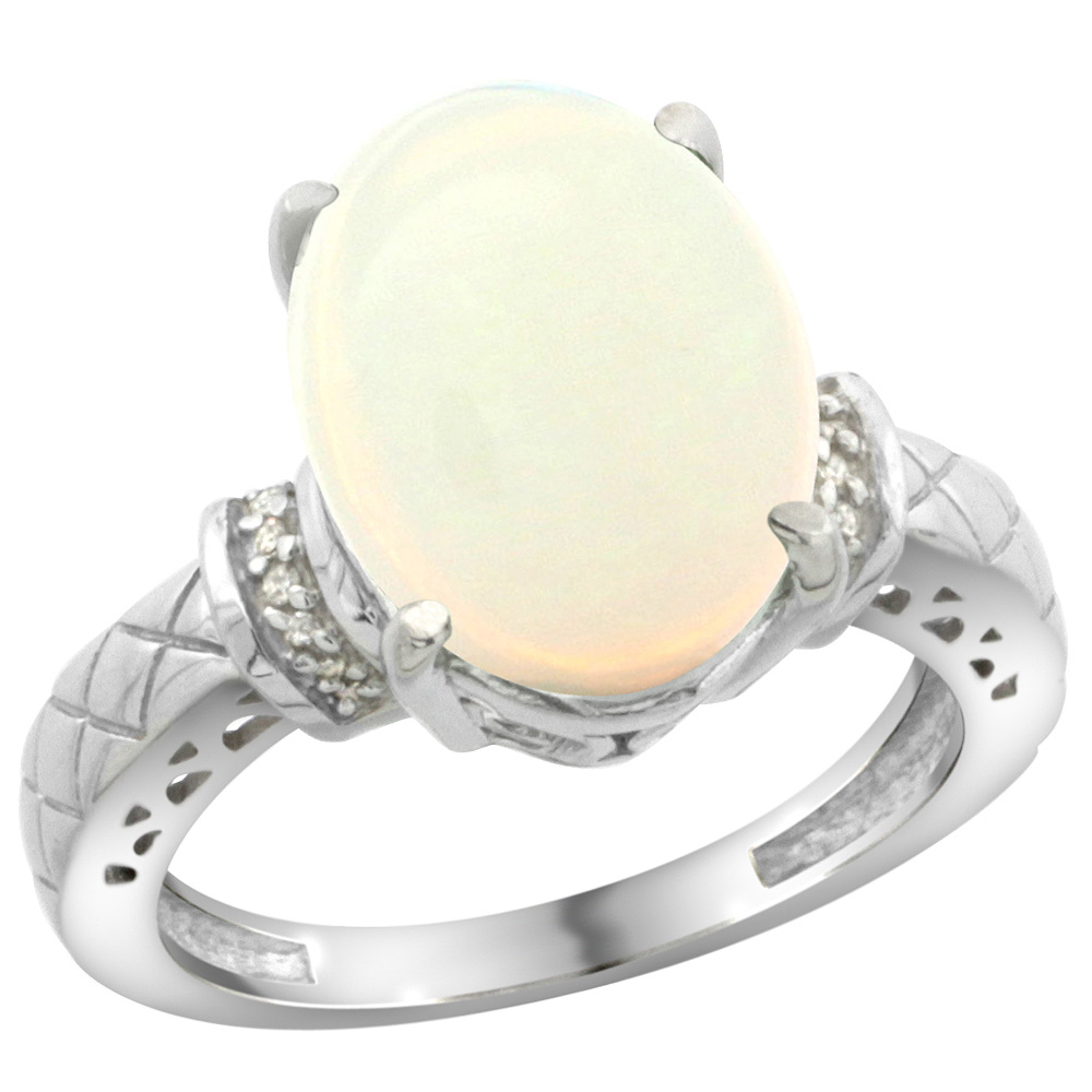 Sterling Silver Diamond Natural Opal Ring Oval 14x10mm, sizes 5-10