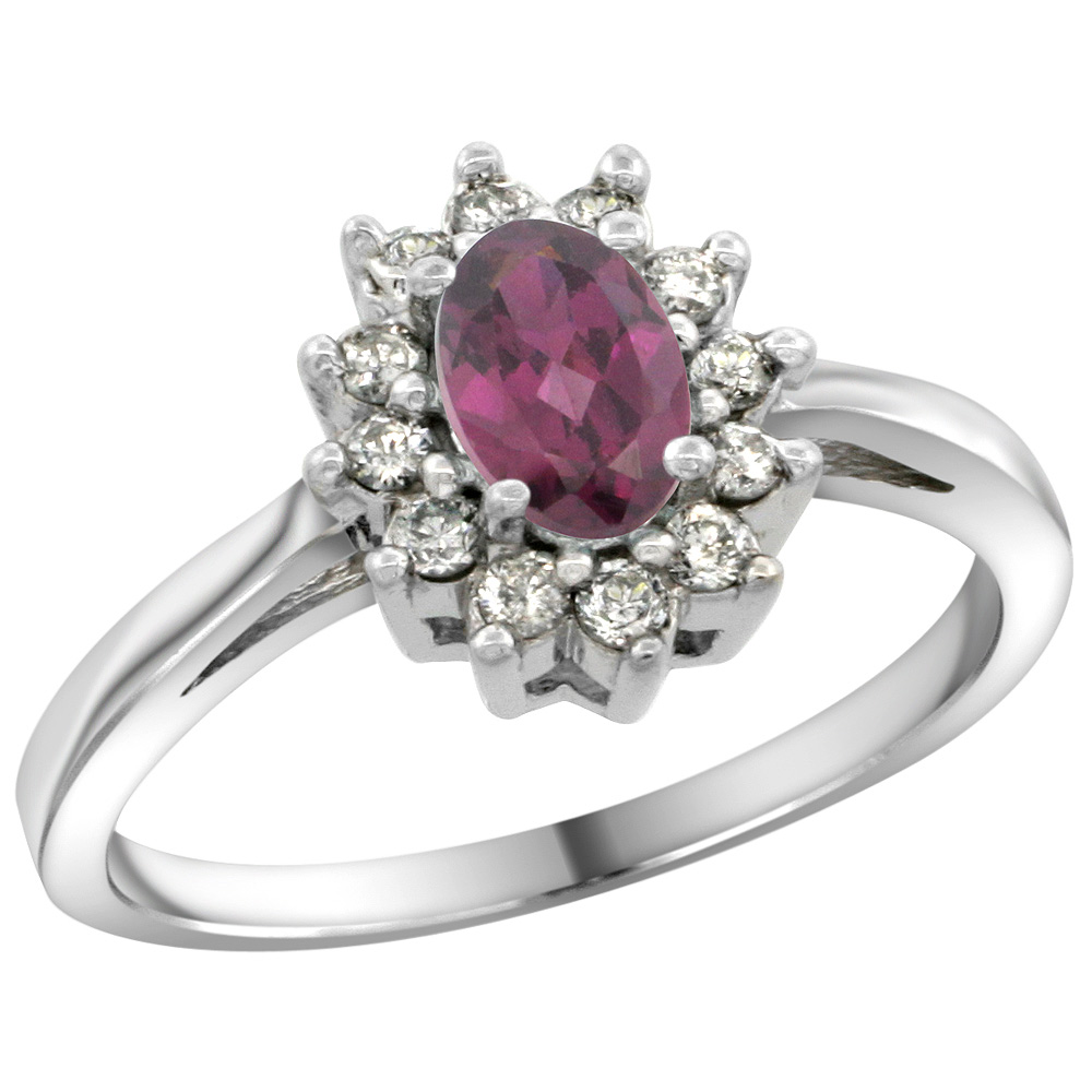 Sterling Silver Natural Rhodolite Diamond Flower Halo Ring Oval 6X4mm, 3/8 inch wide, sizes 5 10