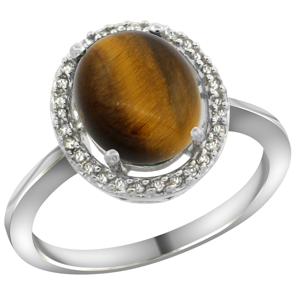Sterling Silver Diamond Halo Natural Tiger Eye Ring Oval 10X8 mm, 1/2 inch wide, sizes 5 10