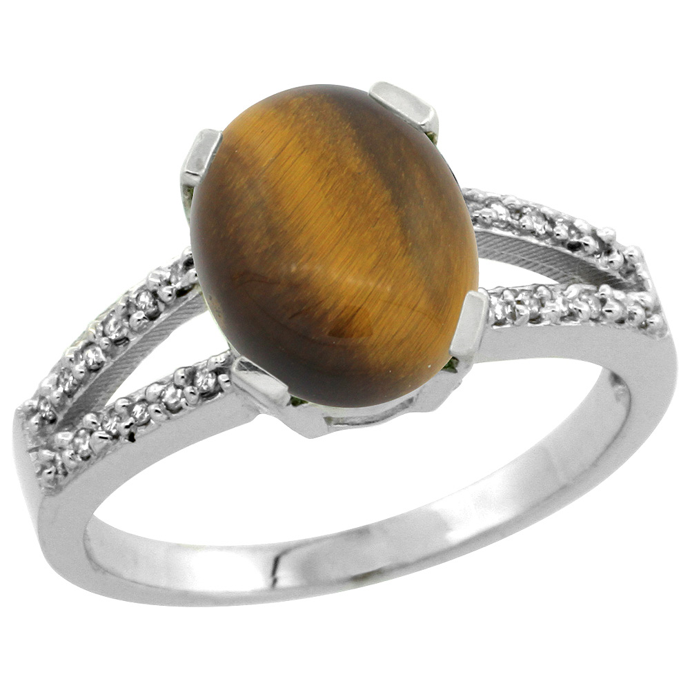 Sterling Silver Diamond Halo Natural Tiger Eye Ring Oval 10x8mm, 3/8 inch wide, sizes 5-10