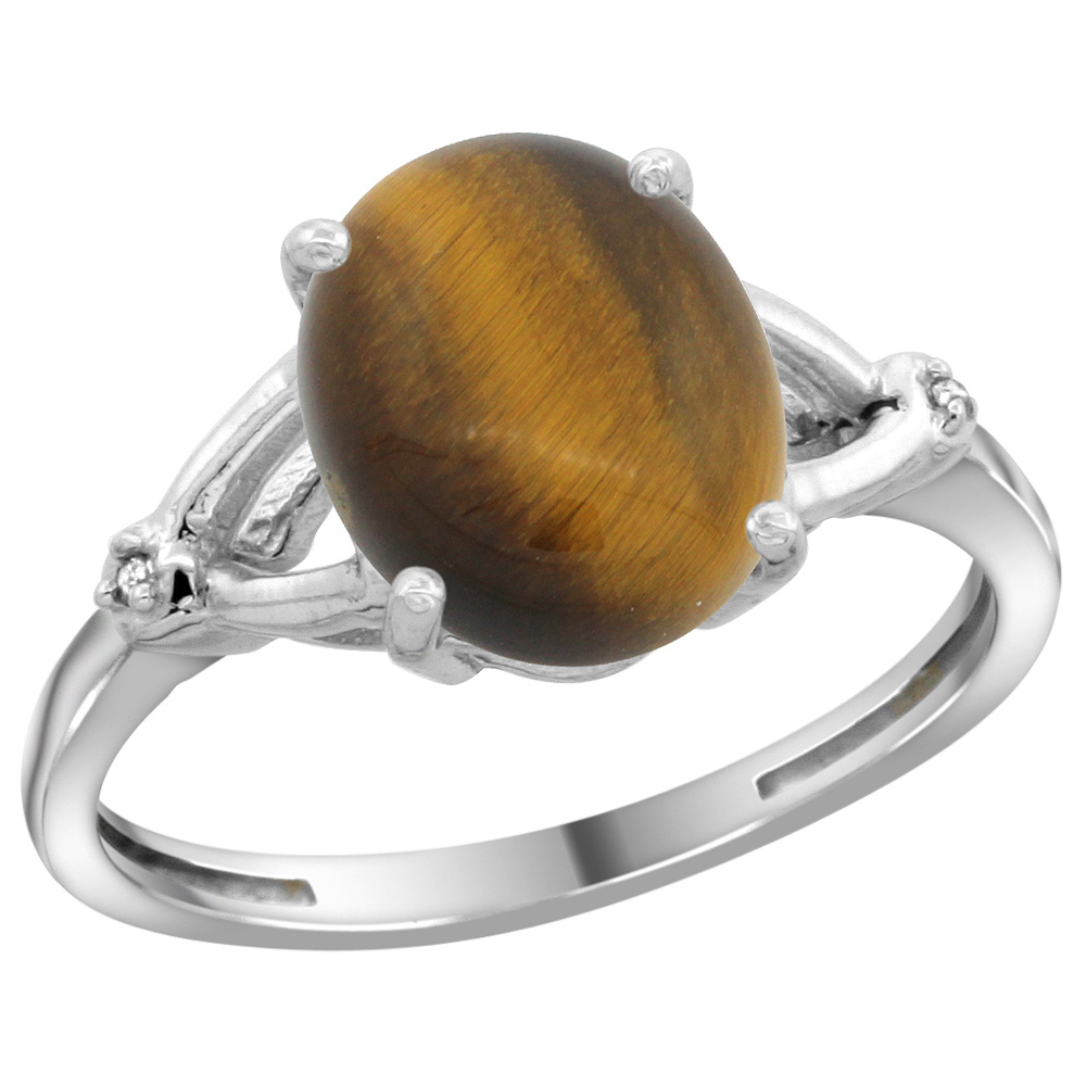 Sterling Silver Diamond Natural Tiger Eye Ring Oval 10x8mm, 3/8 inch wide, sizes 5-10
