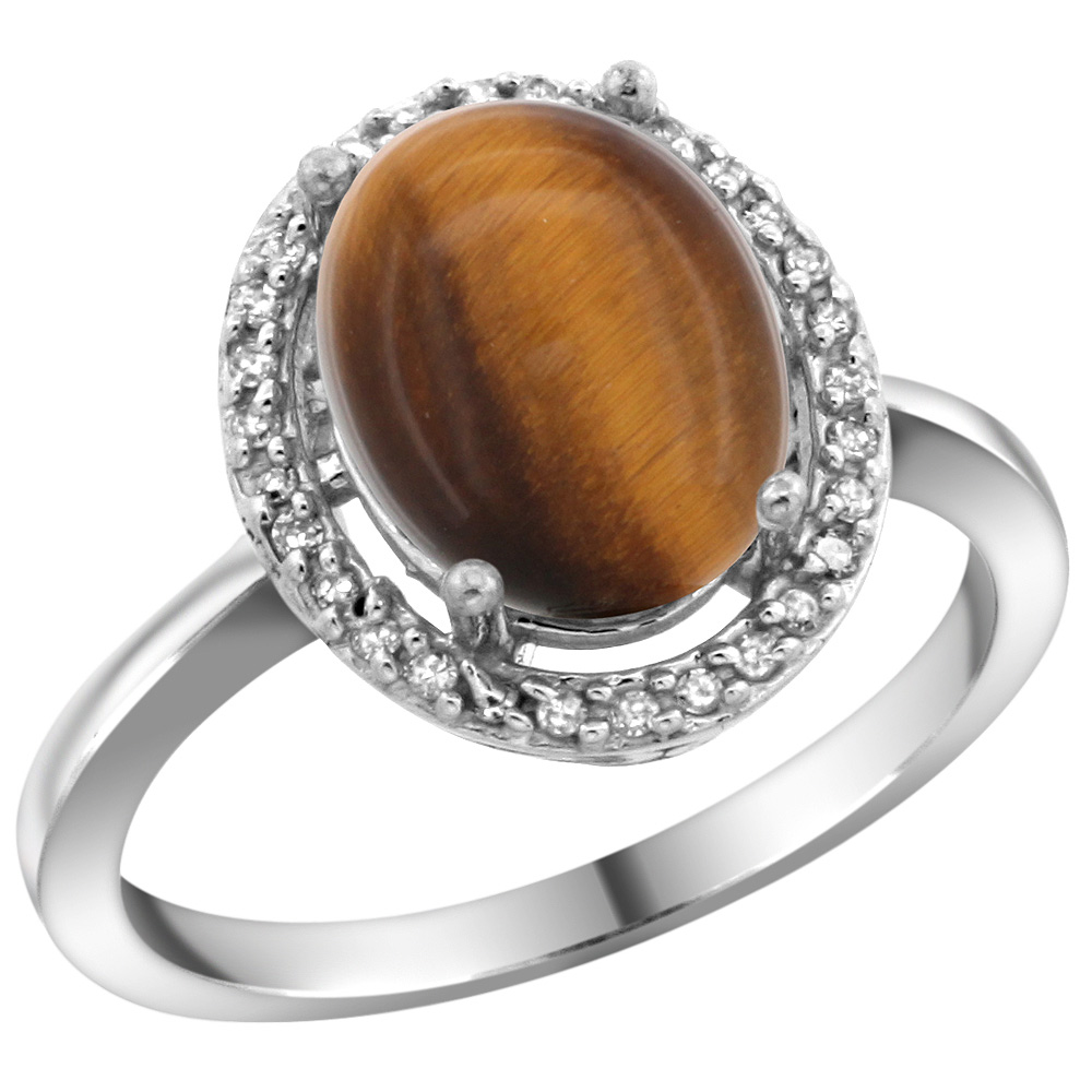 Sterling Silver Diamond Natural Tiger Eye Ring Oval 10x8mm, 1/2 inch wide, sizes 5-10