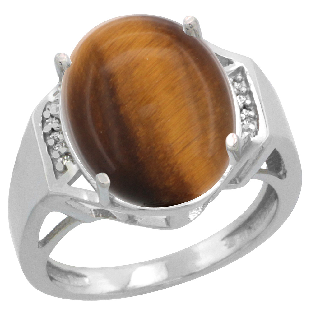 Sterling Silver Diamond Natural Tiger Eye Ring Oval 16x12mm, 5/8 inch wide, sizes 5-10