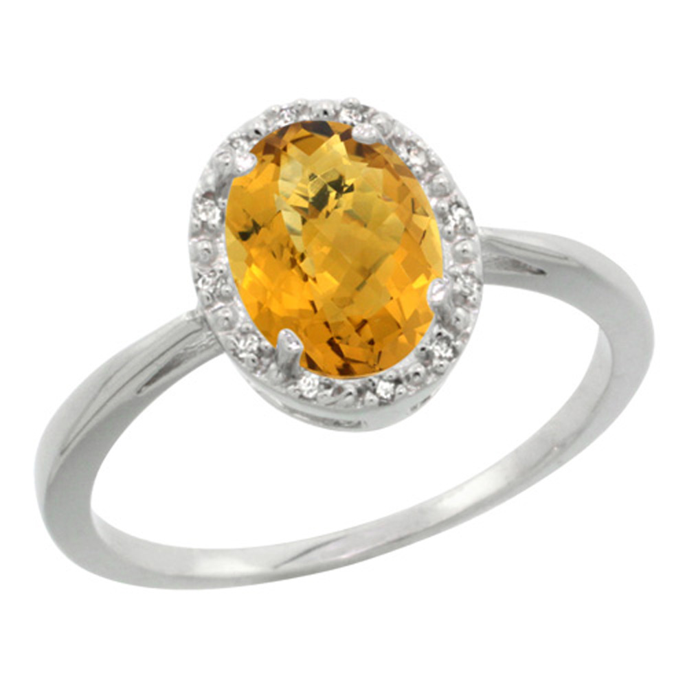 Sterling Silver Natural Whisky Quartz Diamond Halo Ring Oval 8X6mm, 1/2 inch wide, sizes 5 10