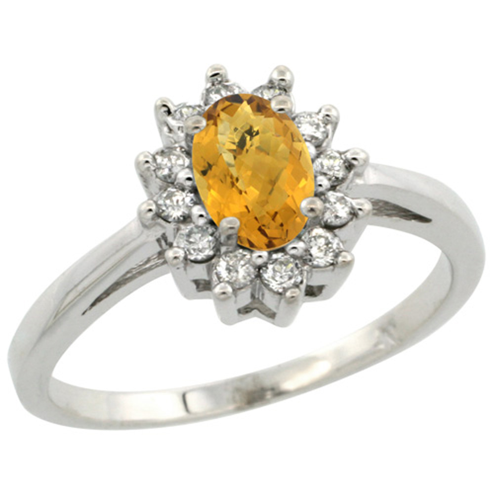 Sterling Silver Natural Whisky Quartz Diamond Flower Halo Ring Oval 6X4mm, 3/8 inch wide, sizes 5 10
