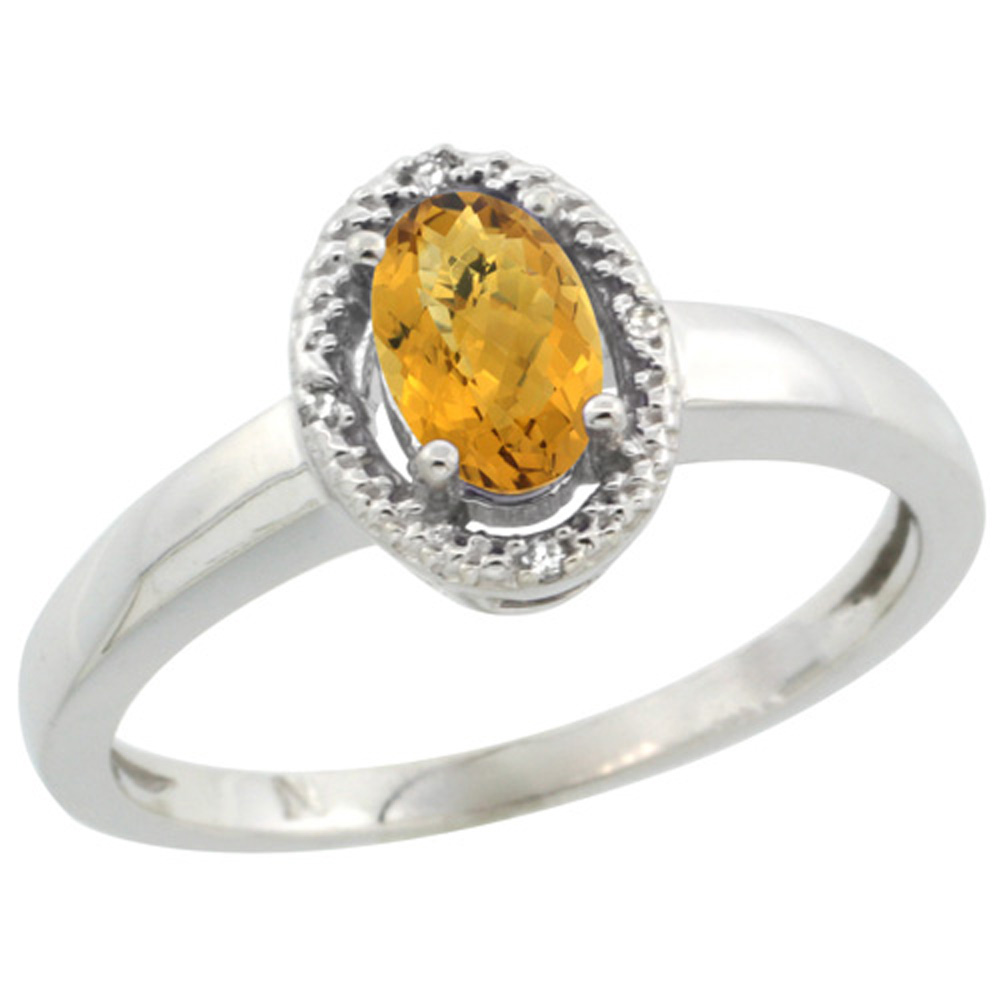 Sterling Silver Diamond Halo Natural Whisky Quartz Ring Oval 6X4 mm, 3/8 inch wide, sizes 5-10