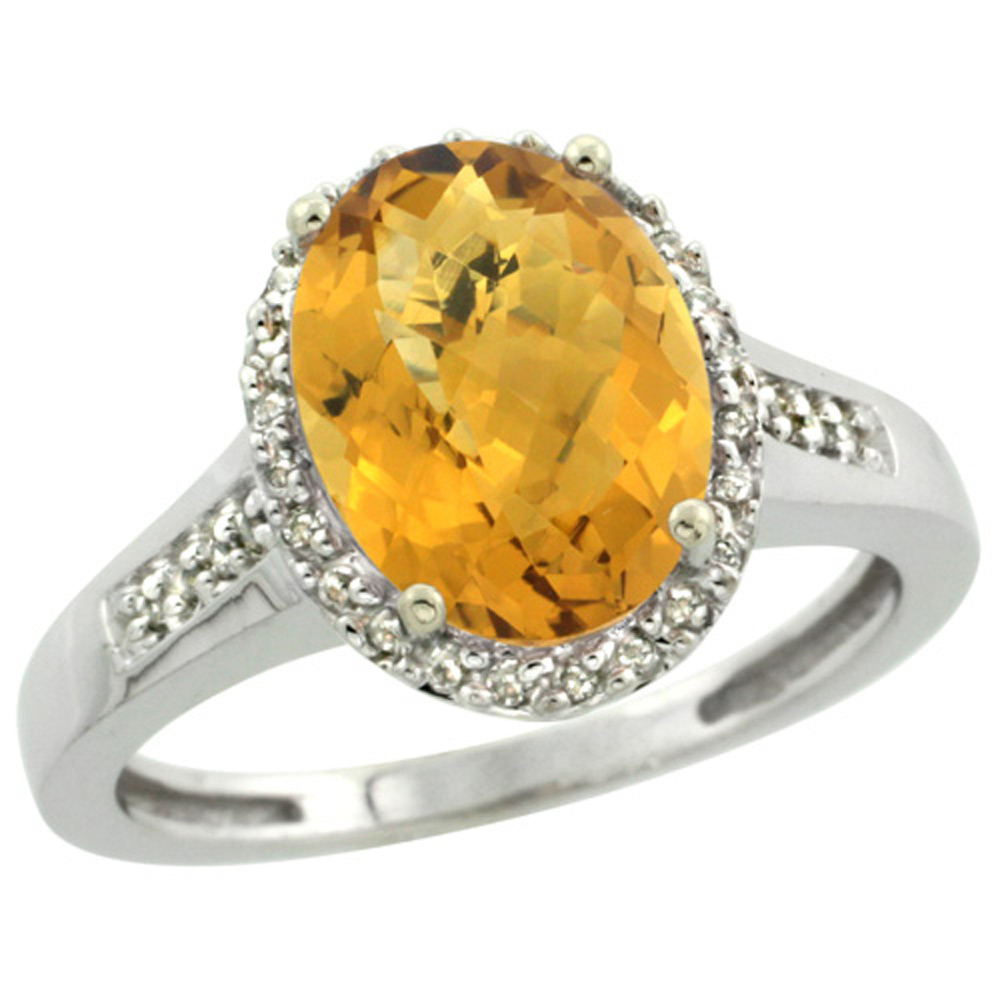 Sterling Silver Diamond Natural Whisky Quartz Ring Oval 10x8mm, 1/2 inch wide, sizes 5-10