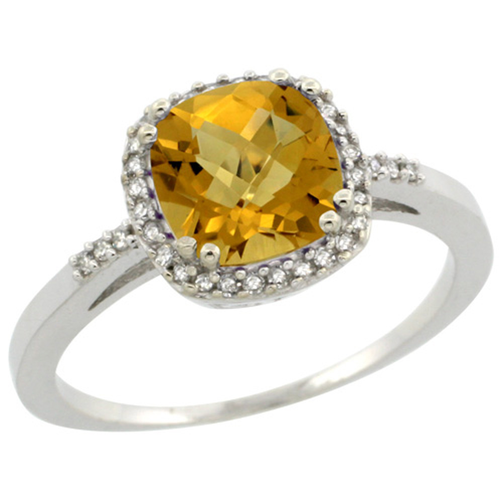 Sterling Silver Diamond Natural Whisky Quartz Ring Cushion-cut 7x7mm, 3/8 inch wide, sizes 5-10