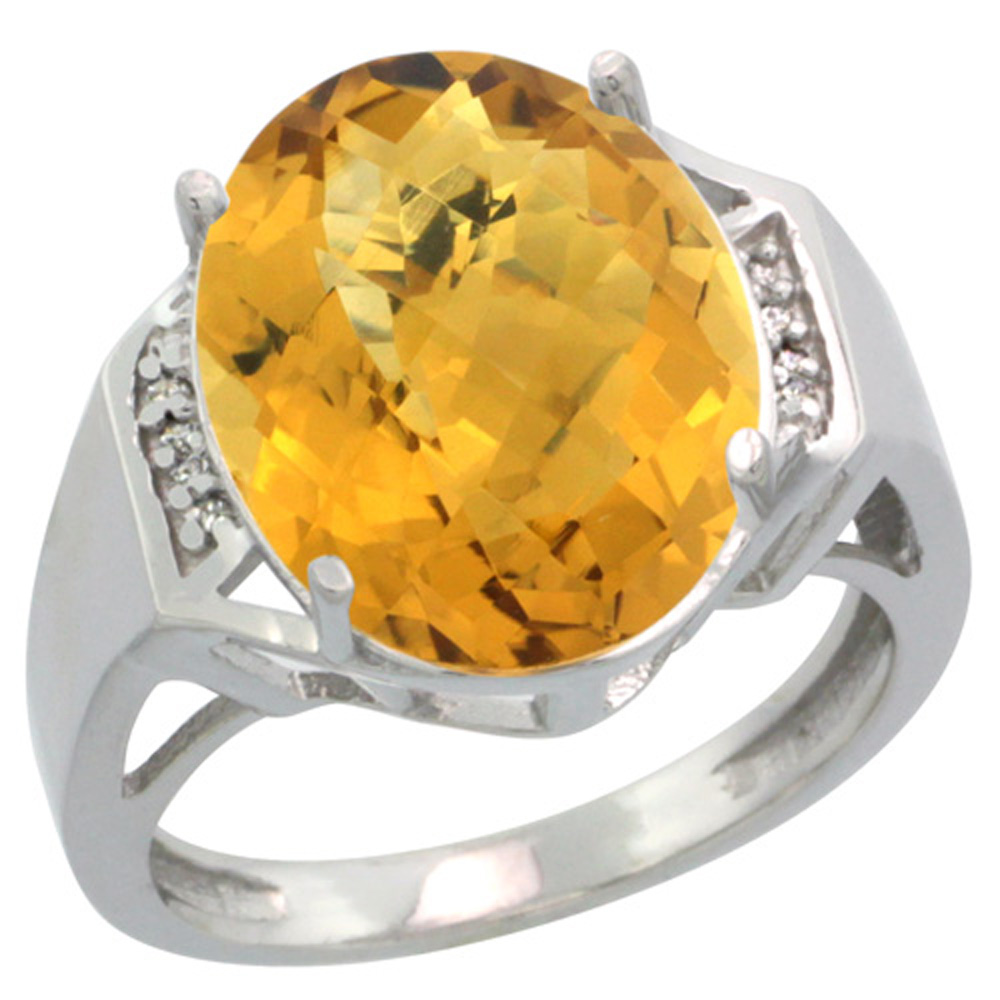 Sterling Silver Diamond Natural Whisky Quartz Ring Oval 16x12mm, 5/8 inch wide, sizes 5-10