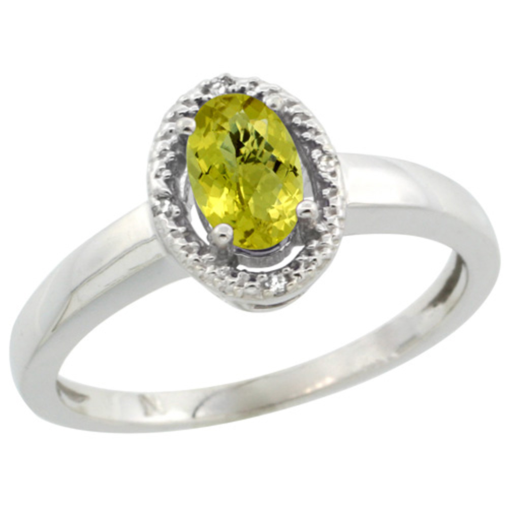 Sterling Silver Diamond Halo Natural Lemon Quartz Ring Oval 6X4 mm, 3/8 inch wide, sizes 5-10