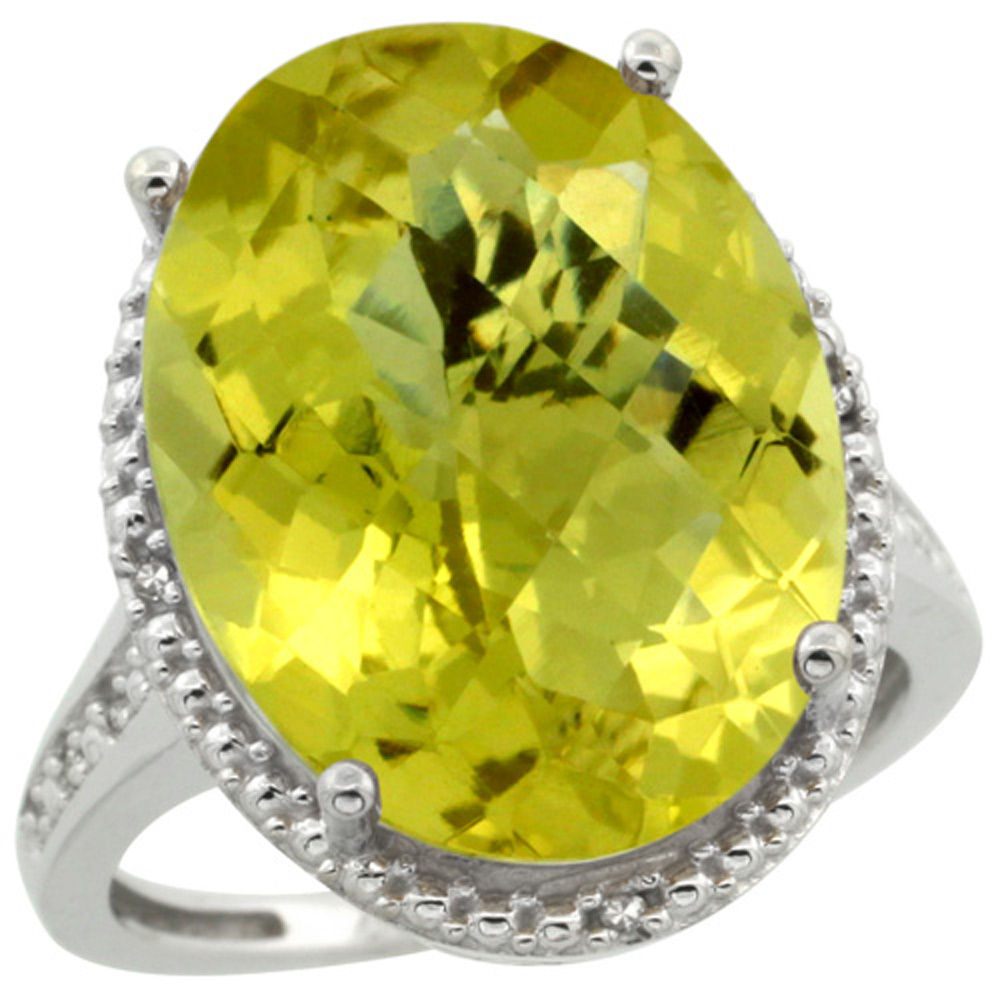 Sterling Silver Diamond Natural Lemon Quartz Ring Oval 18x13mm, 3/4 inch wide, sizes 5-10