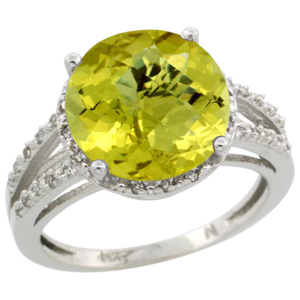 Sterling Silver Diamond Natural Lemon Quartz Ring Round 11mm, 1/2 inch wide, sizes 5-10