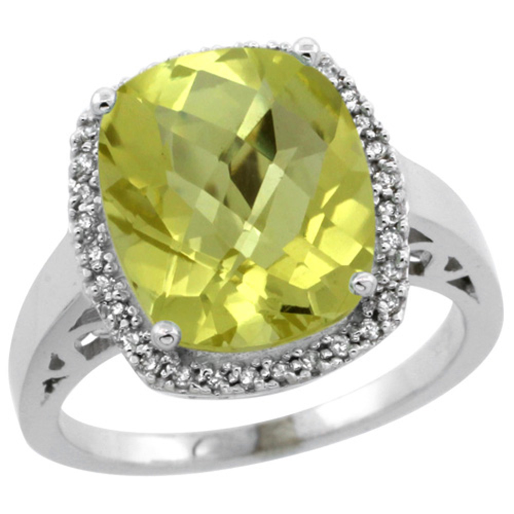 Sterling Silver Diamond Natural Lemon Quartz Ring Cushion-cut 12x10mm, 1/2 inch wide, size 5-10