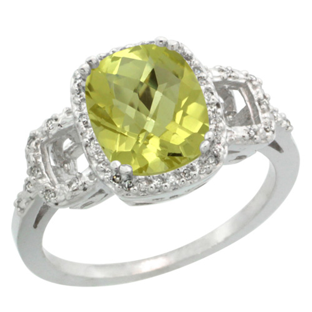 Sterling Silver Diamond Natural Lemon Quartz Ring Cushion-cut 9x7mm, 1/2 inch wide, sizes 5-10