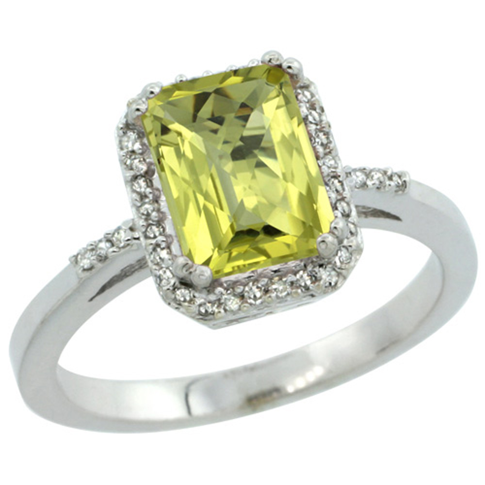 Sterling Silver Diamond Natural Lemon Quartz Ring Emerald-cut 8x6mm, 1/2 inch wide, sizes 5-10