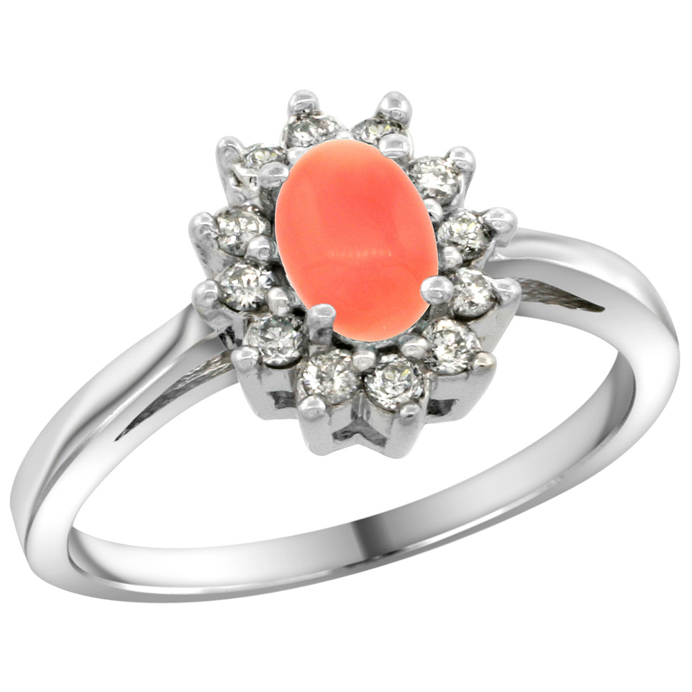 Sterling Silver Natural Coral Diamond Flower Halo Ring Oval 6X4mm, 3/8 inch wide, sizes 5 10