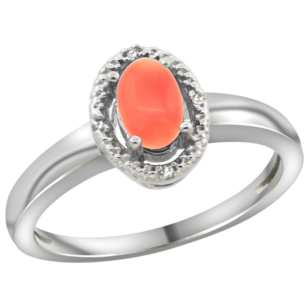 Sterling Silver Diamond Halo Natural Coral Ring Oval 6X4 mm, 3/8 inch wide, sizes 5-10