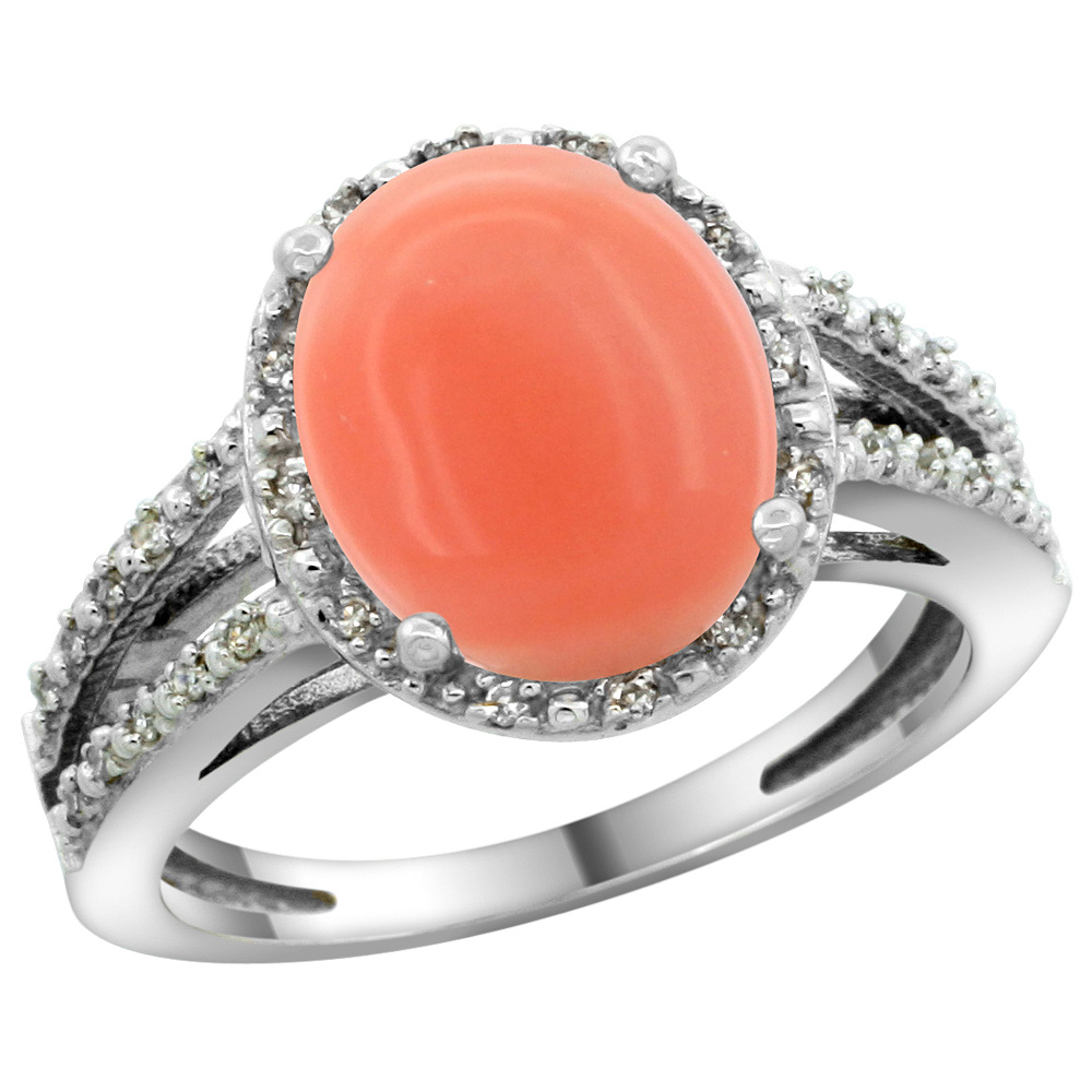 Sterling Silver Diamond Halo Natural Coral Ring Oval 11x9mm, 7/16 inch wide, sizes 5-10