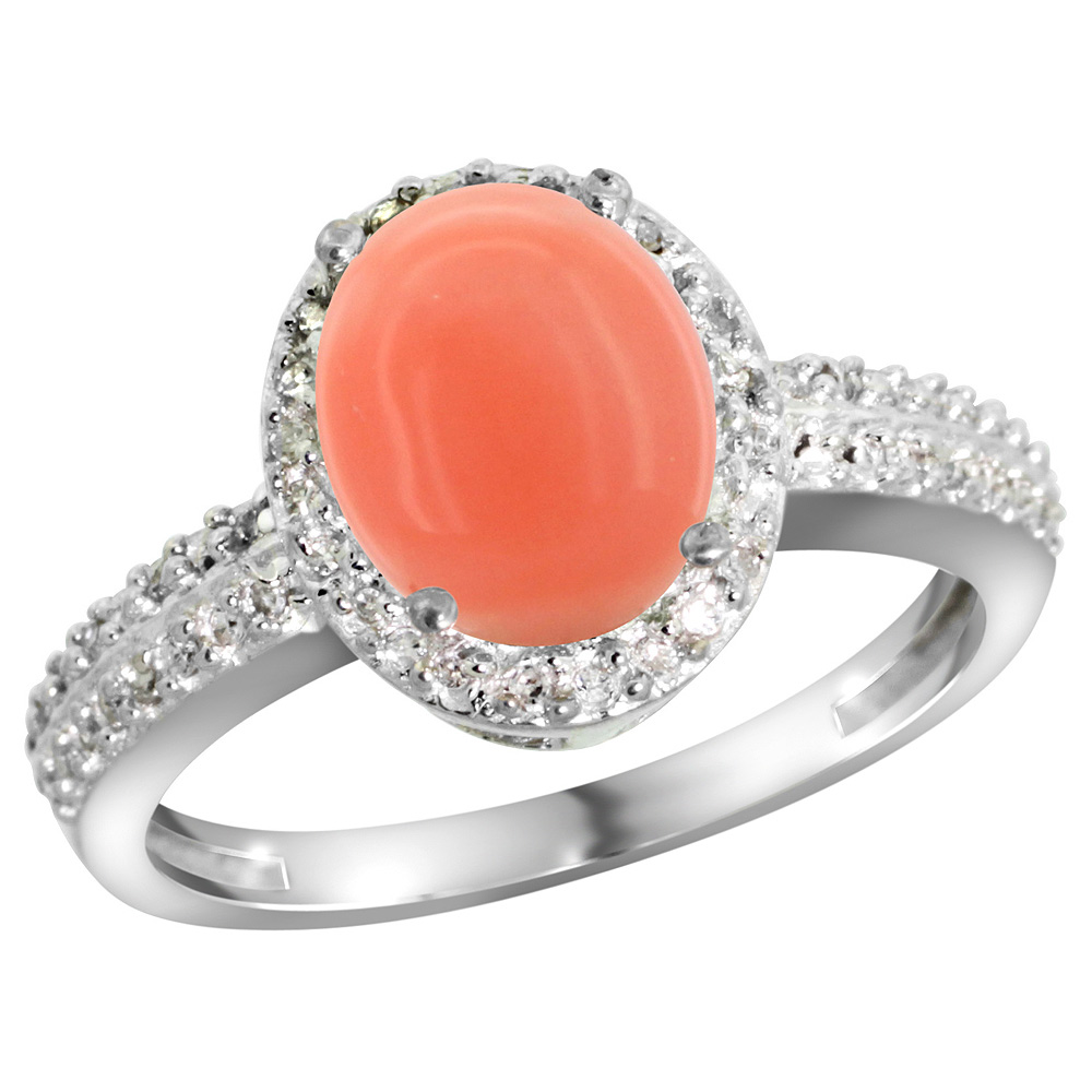 Sterling Silver Diamond Natural Coral Ring Oval 9x7mm, 1/2 inch wide, sizes 5-10