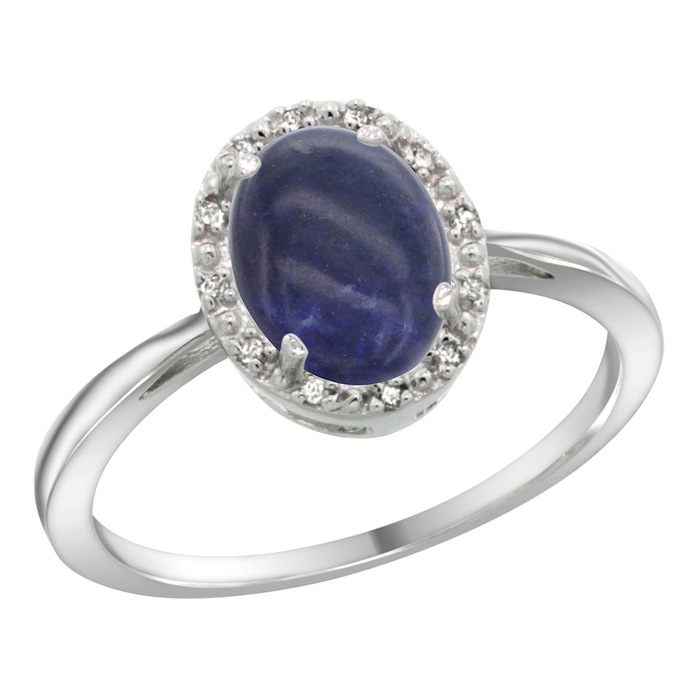 Sterling Silver Natural Lapis Diamond Halo Ring Oval 8X6mm, 1/2 inch wide, sizes 5 10