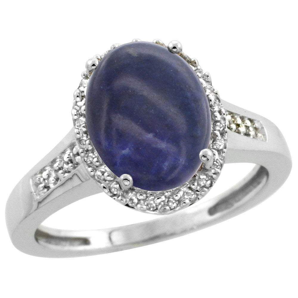 Sterling Silver Diamond Natural Lapis Ring Oval 10x8mm, 1/2 inch wide, sizes 5-10