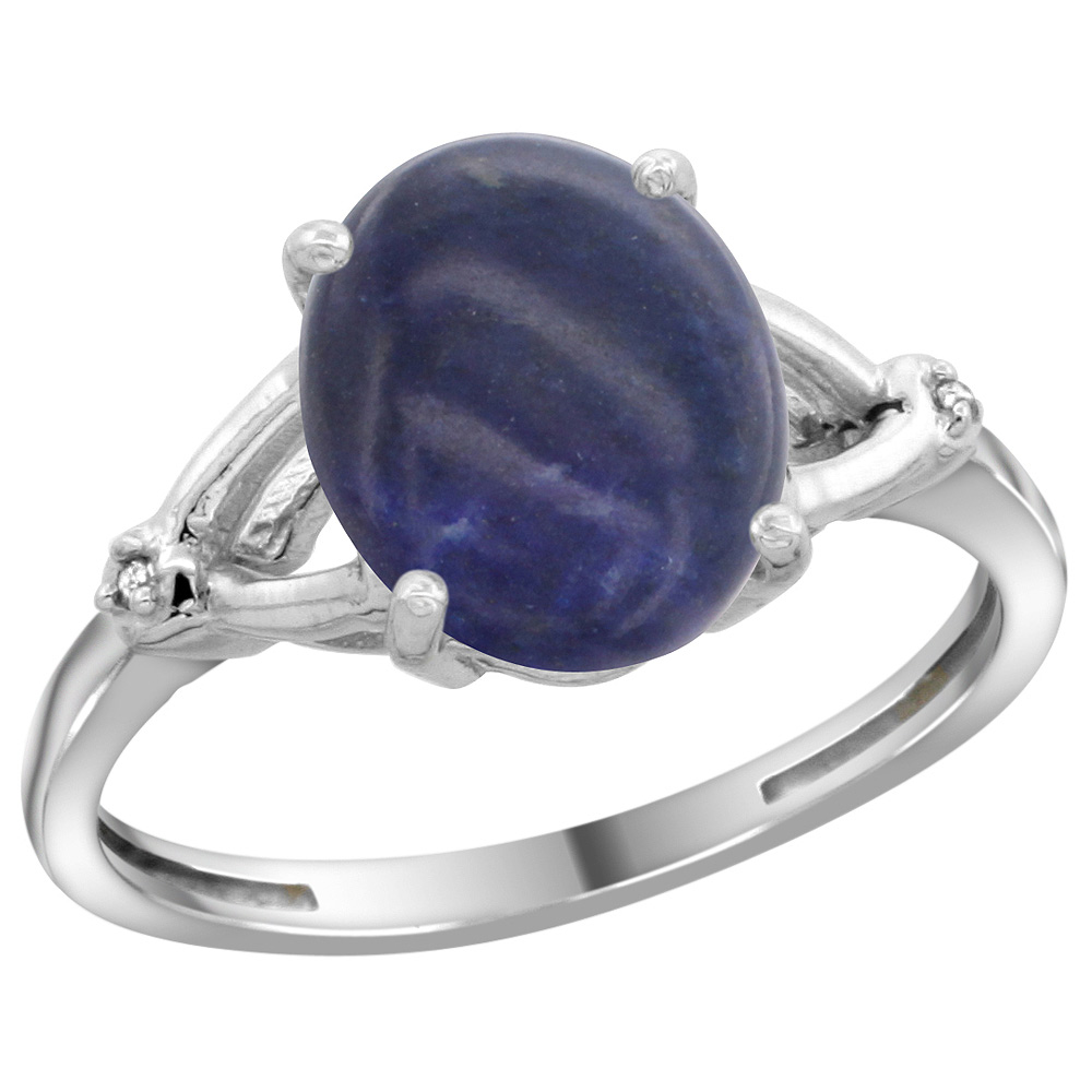 Sterling Silver Diamond Natural Lapis Ring Oval 10x8mm, 3/8 inch wide, sizes 5-10