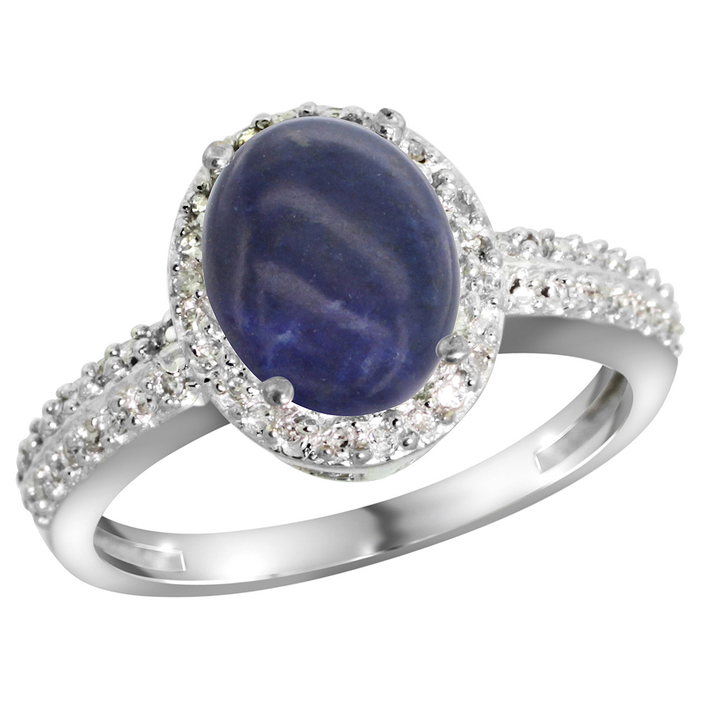 Sterling Silver Diamond Natural Lapis Ring Oval 9x7mm, 1/2 inch wide, sizes 5-10