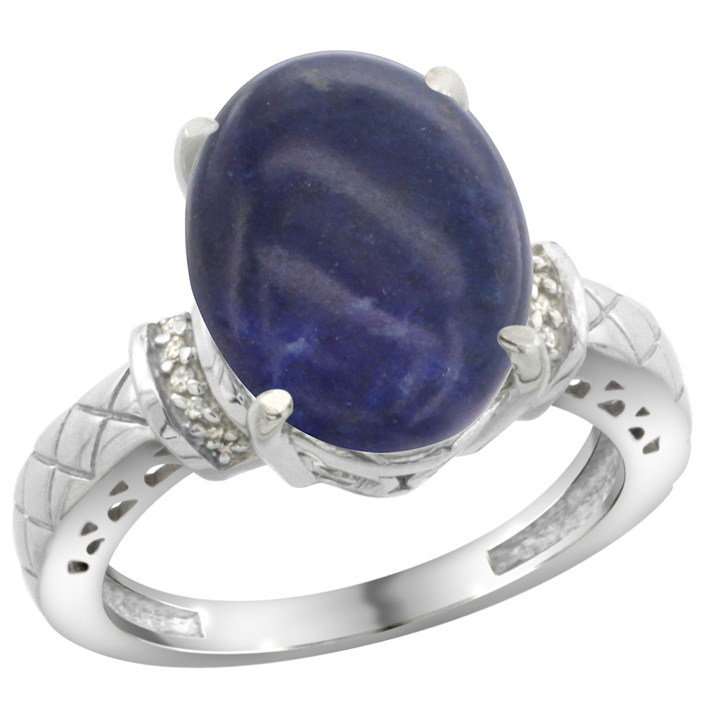 Sterling Silver Diamond Natural Lapis Ring Oval 14x10mm, sizes 5-10