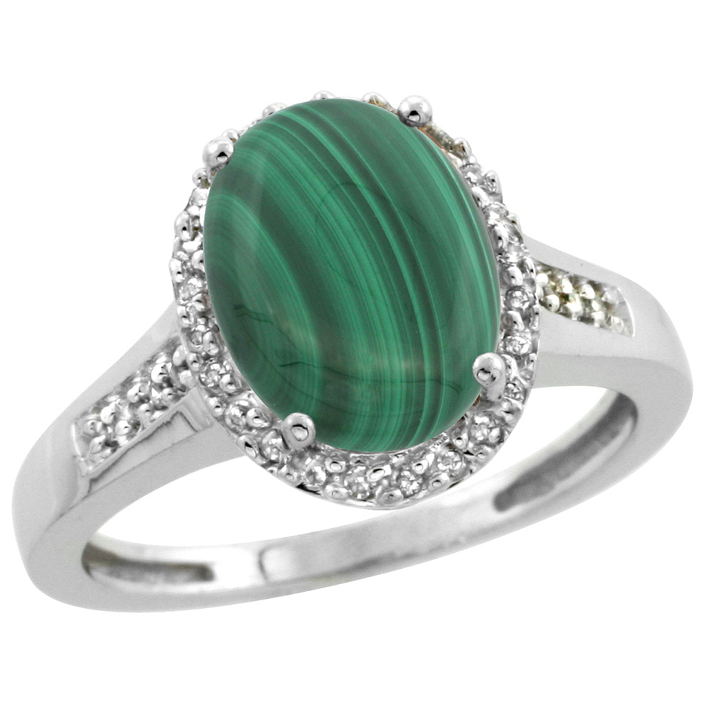 Sterling Silver Diamond Natural Malachite Ring Oval 10x8mm, 1/2 inch wide, sizes 5-10