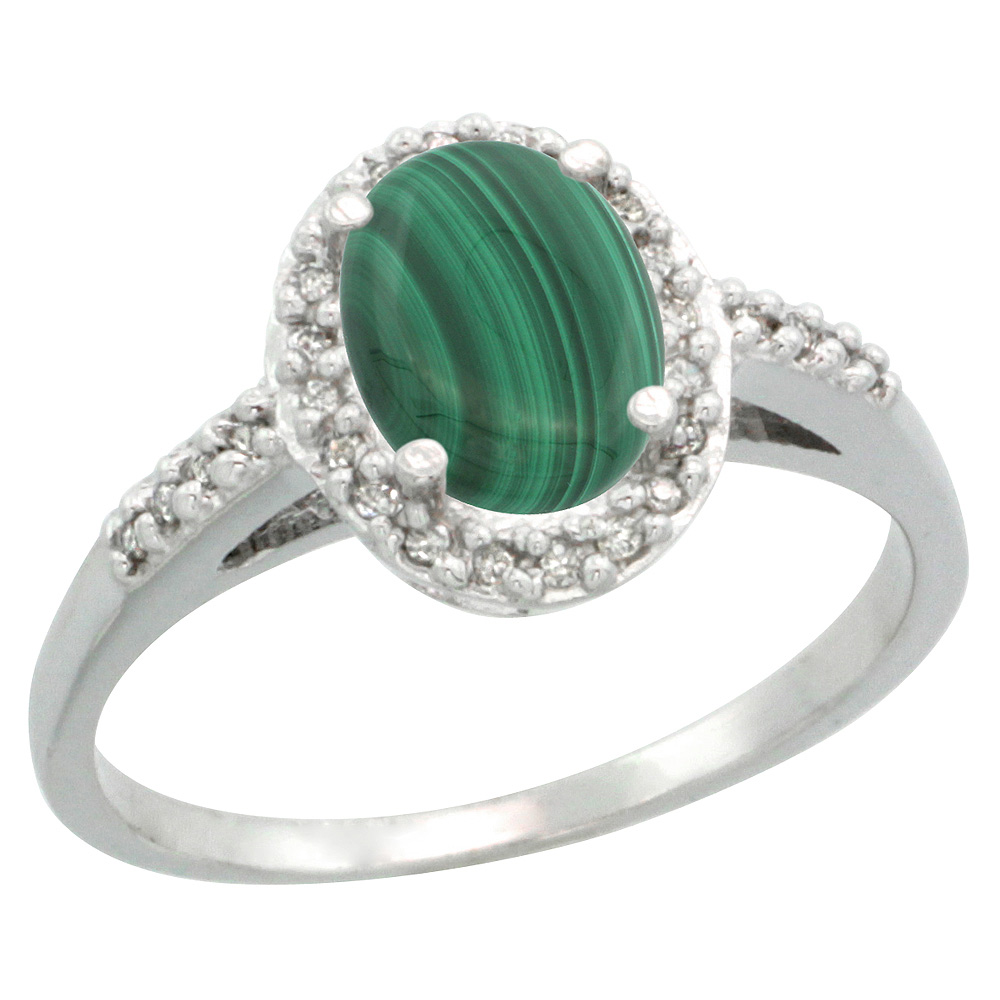 Sterling Silver Diamond Natural Malachite Ring Oval 8x6mm, 3/8 inch wide, sizes 5-10