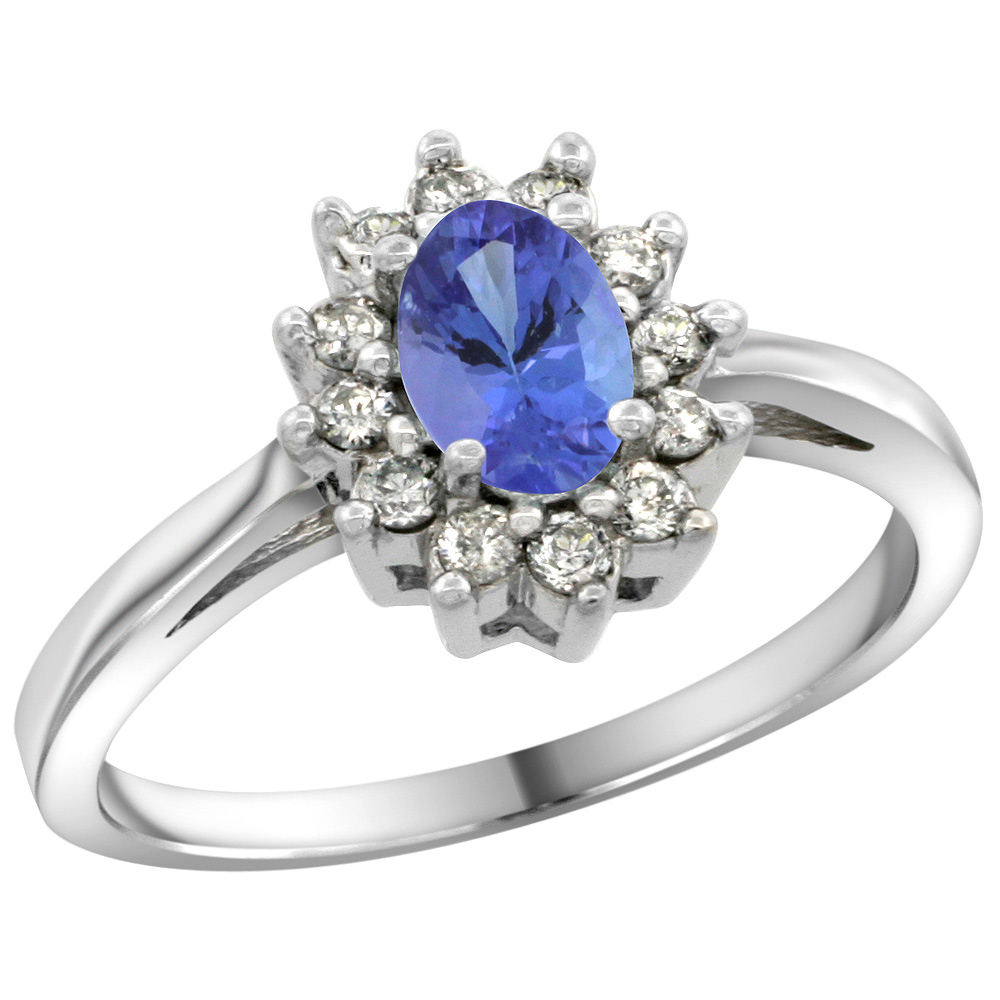 Sterling Silver Natural Tanzanite Diamond Flower Halo Ring Oval 6X4mm, 3/8 inch wide, sizes 5 10