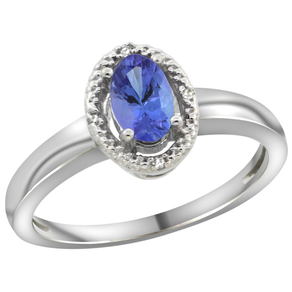Sterling Silver Diamond Halo Natural Tanzanite Ring Oval 6X4 mm, 3/8 inch wide, sizes 5-10