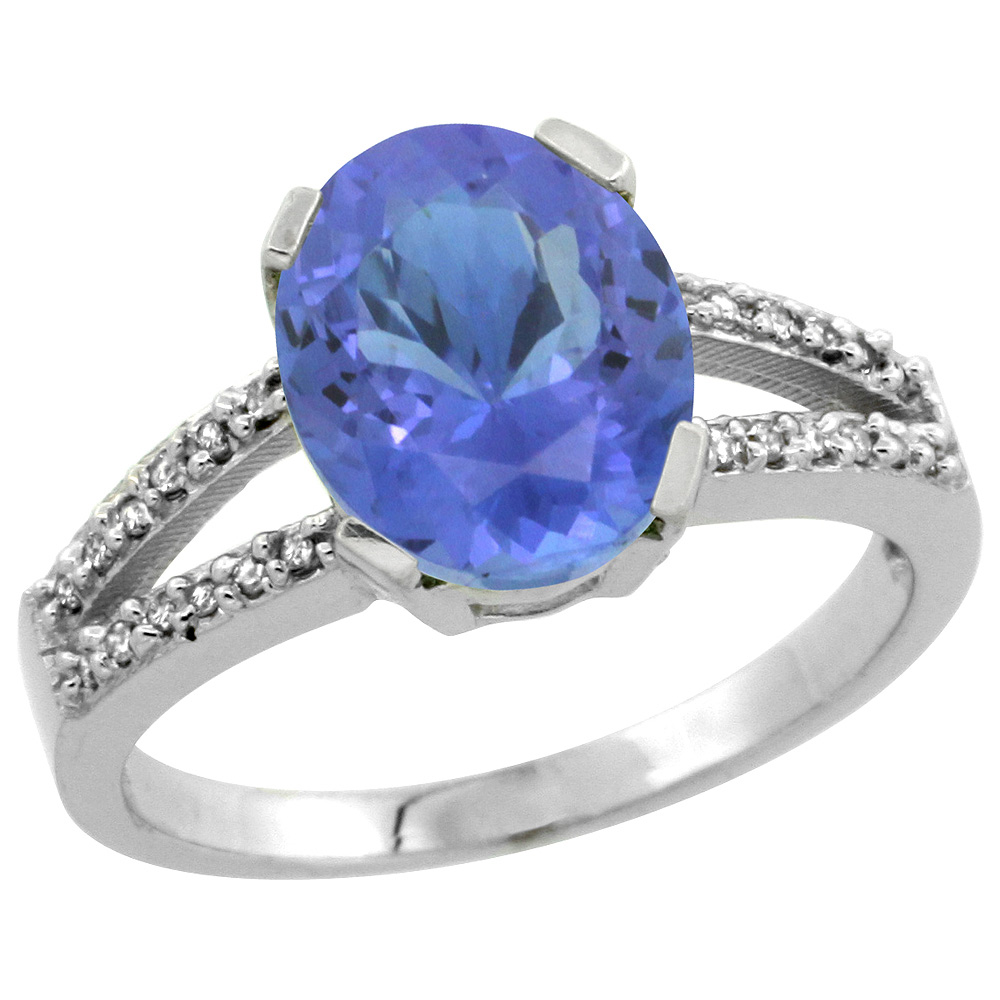 Sterling Silver Diamond Halo Natural Tanzanite Ring Oval 10x8mm, 3/8 inch wide, sizes 5-10