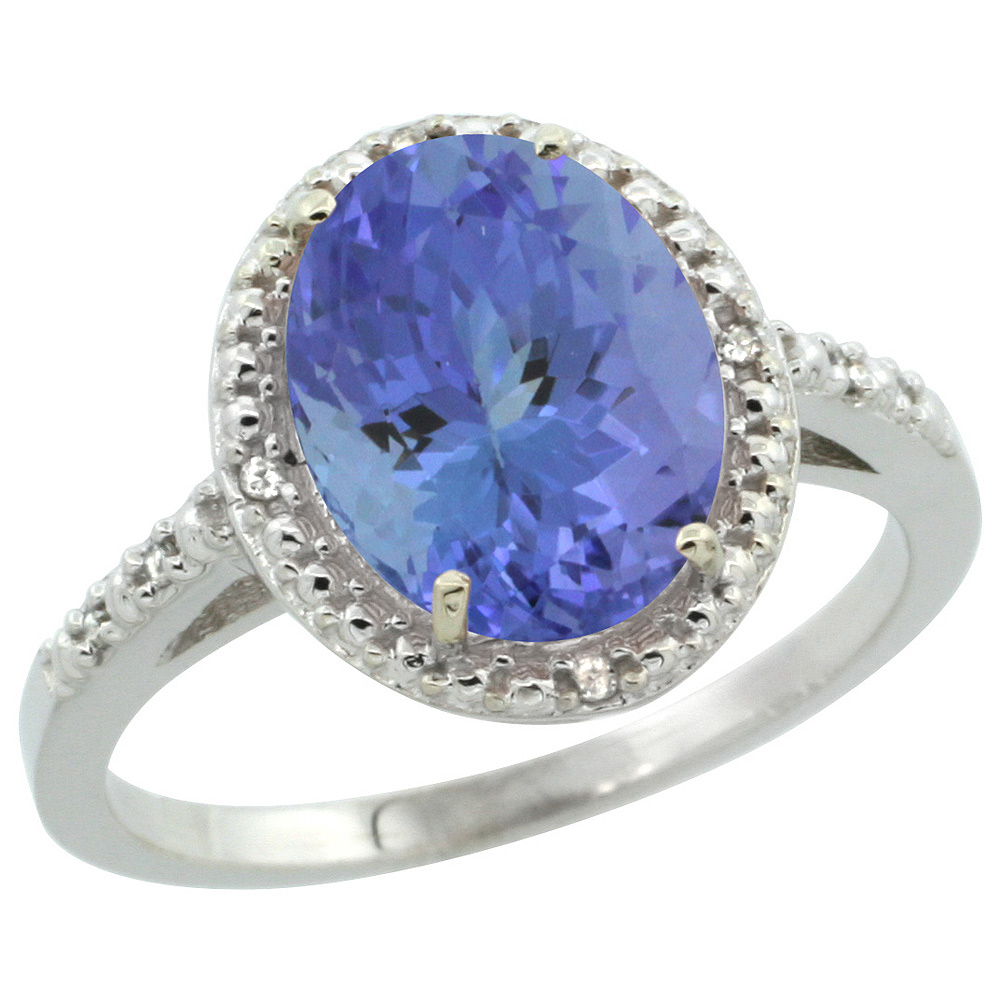 Sterling Silver Diamond Natural Tanzanite Ring Oval 10x8mm, 1/2 inch wide, sizes 5-10
