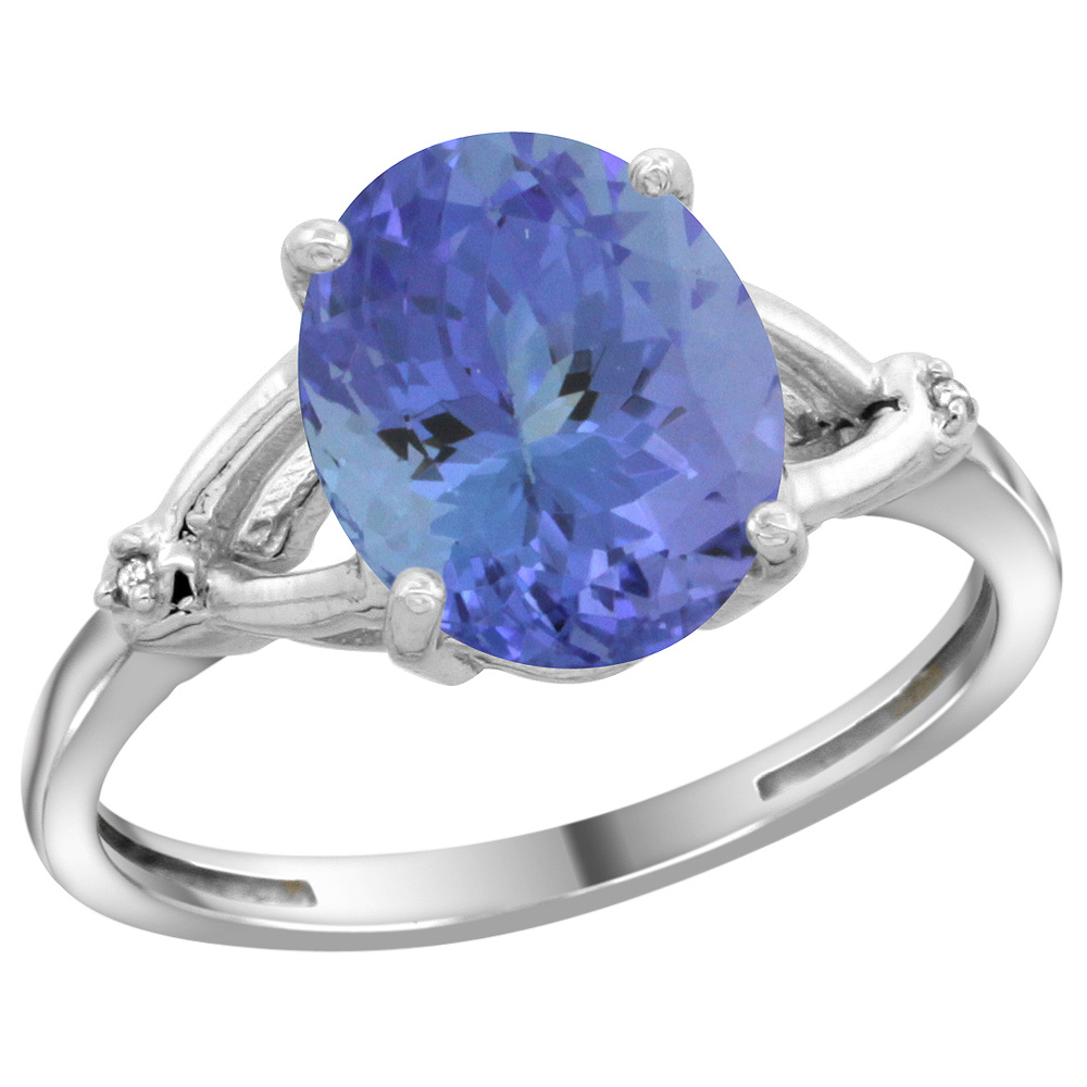 Sterling Silver Diamond Natural Tanzanite Ring Oval 10x8mm, 3/8 inch wide, sizes 5-10