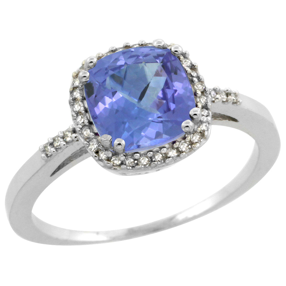Sterling Silver Diamond Natural Tanzanite Ring Cushion-cut 7x7mm, 3/8 inch wide, sizes 5-10