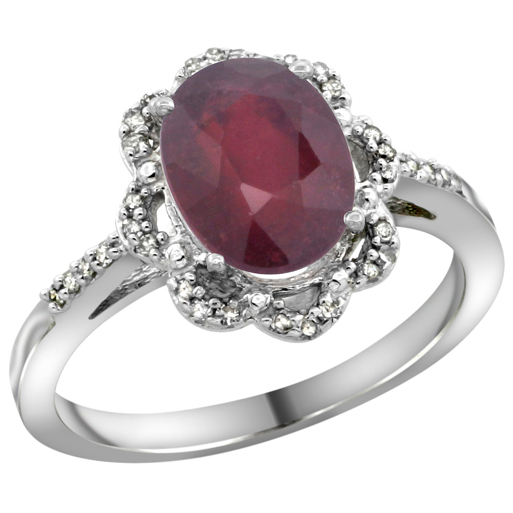 Sterling Silver Diamond Halo Natural High Quality Ruby Ring Oval 9x7mm, 7/16 inch wide, sizes 5-10