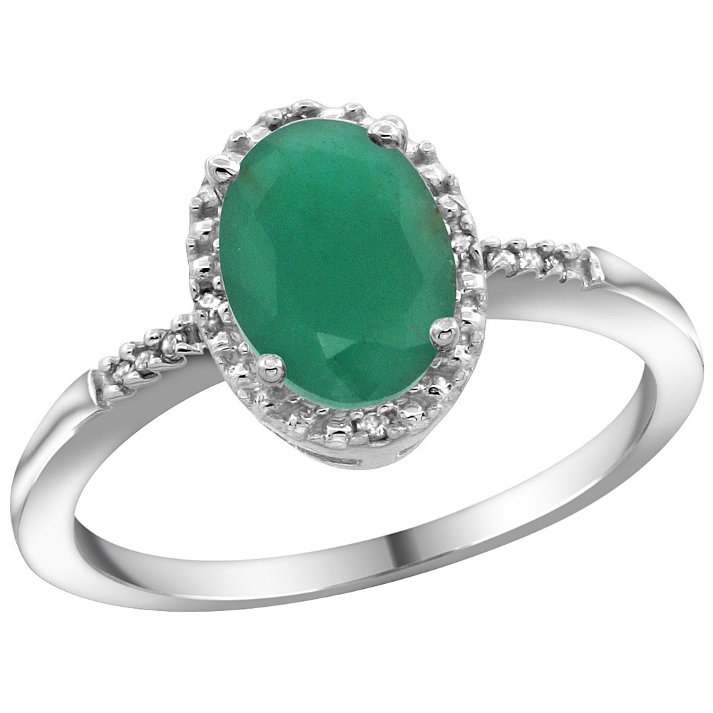 Sterling Silver Diamond Quality Natural Emerald Ring Oval 8x6mm, 3/8 inch wide, sizes 5-10