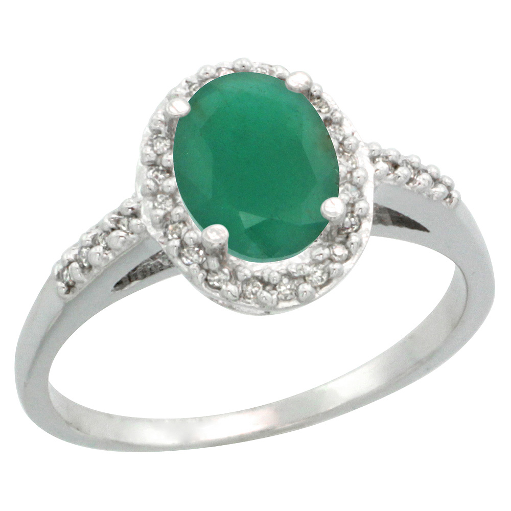 Sterling Silver Diamond Natural High Quality Emerald Ring Oval 8x6mm, 3/8 inch wide, sizes 5-10