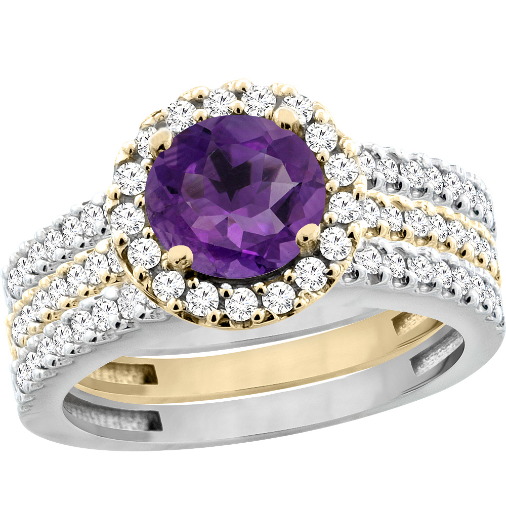 10K Gold Natural Amethyst 3-Piece Ring Set Two-tone Round 6mm Halo Diamond, sizes 5 - 10