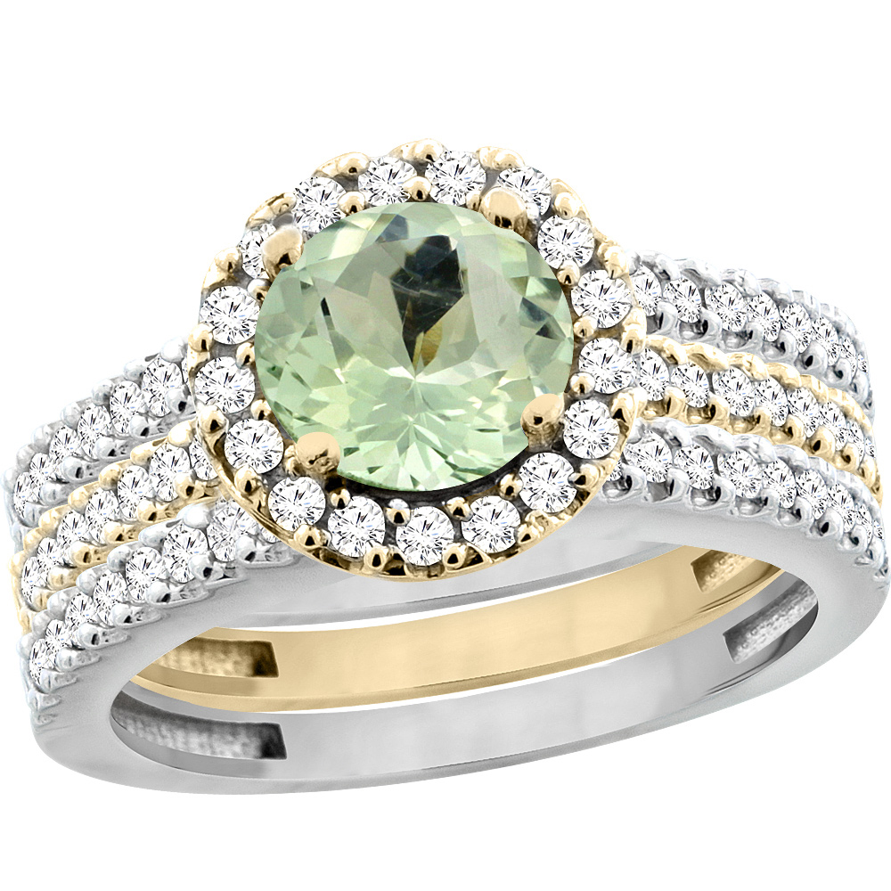 14K Gold Natural Green Amethyst 3-Piece Ring Set Two-tone Round 6mm Halo Diamond, sizes 5 - 10
