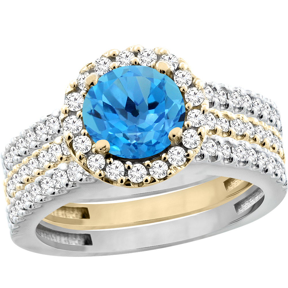 10K Gold Natural Swiss Blue Topaz 3-Piece Ring Set Two-tone Round 6mm Halo Diamond, sizes 5 - 10